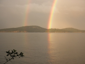 Double Rainbow Over Decatur Island from Lopez